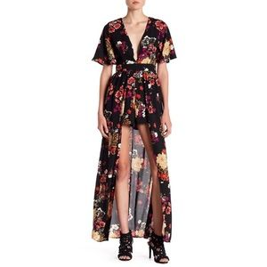 Socialite floral romper w/maxi skirt overlay small